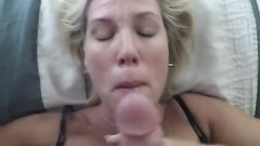 Amature blowjob gets huge facial